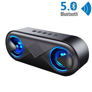 bluetooth5.0スピーカーワイヤレススピーカーマイク搭載高音質重低音充電式大音量ブルートゥーススピーカーusbLEDスマホスピーカーハンズフリー通話ステレオコスパ最高