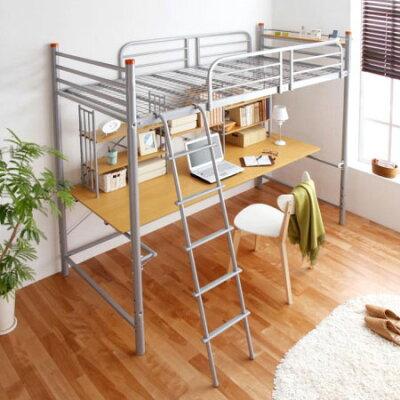 ●送料無料ベッドとデスクが一体化!進化系ロフトベッド!家具アウトレット送料込北欧ミッドセ...