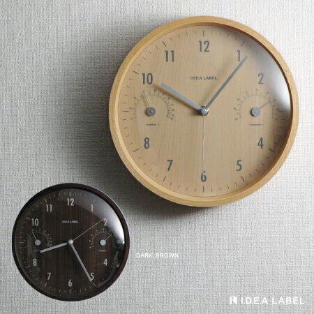 ウッド温湿時計 (壁掛け時計 掛け時計 かけ時計 クロック 北欧 ミッドセンチュリー インテリア雑貨...