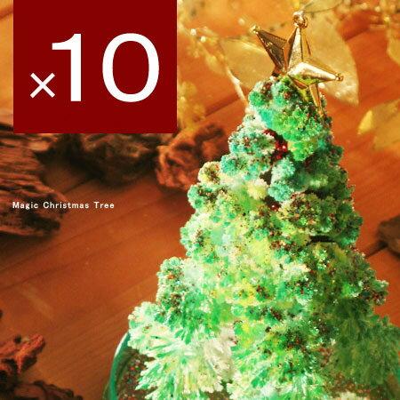 すぐに育つ不思議ツリー♪MAGIC CHRISTMAS TREE グリーン 10個セット(マジッ...