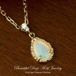 オパールダイヤモンドネックレスK18(18金ゴールド)10月の誕生石4月の誕生石