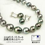 パールネックレスイヤリング2点セット黒蝶真珠8.0〜12.0mmシリコンクッション入り鑑別書付き(6月誕生石)