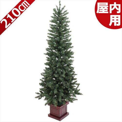 クリスマスツリー 210cm 木製ポット付スリムツリー [ ヌードツリー ]