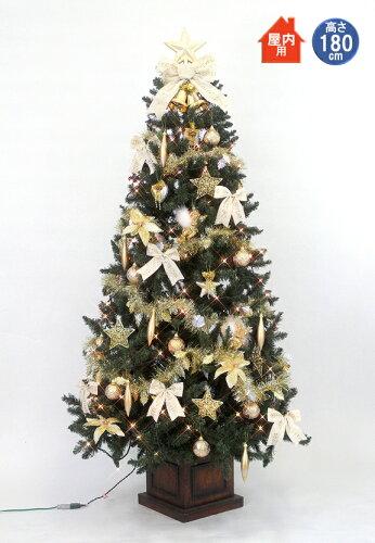 クリスマスツリー セット 180cm 木製ポット スクエアベース ツリーセットゴールド&アイボリー 【j...
