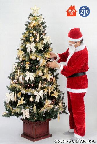 クリスマスツリー セット 210cm 木製ポット スクエアベース ツリーセットゴールド&アイボリー 【j...