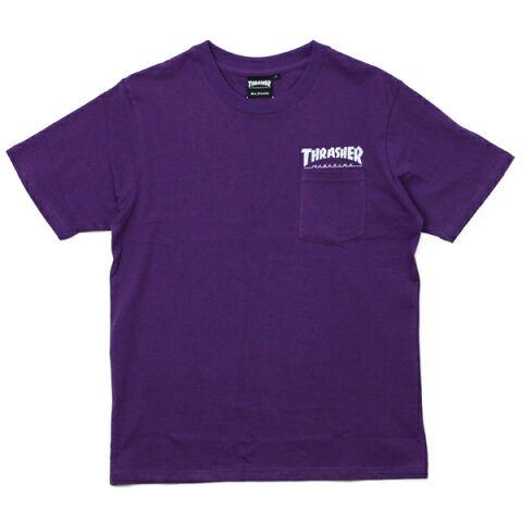 THRASHER Tシャツ  SKATE MAG POCKET 紫×白ロゴ  (スラッシャー)