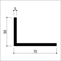 アルミ不等辺アングル5.0x50x75x4000B2シルバー