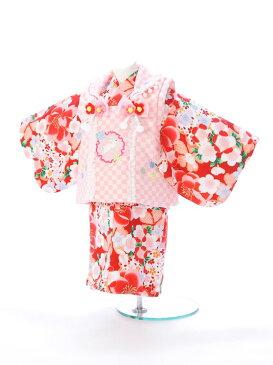 【レンタル】[ベビー着物][100日から1歳][初誕生][初節句][桃の節句][お食い初め]【ひな祭り】[こどもの日][結婚式][子供 着物]【80cm】【1歳 女の子】【ベビー着物 女の子】[写真撮影][記念写真]E-1H-13