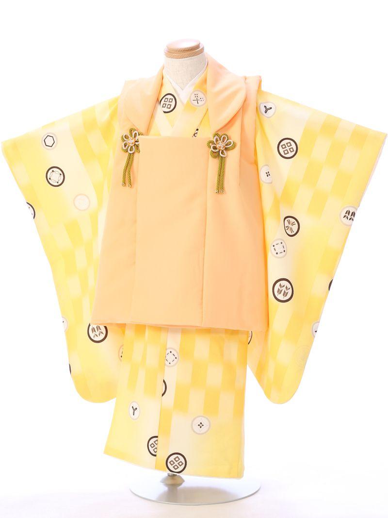 【レンタル】【七五三 3歳】[3歳 男の子][753 男の子][3歳 被布セット][往復送料無料][小物一式つき][フルセット]被布:オレンジ系 着物:黄色系【E-H-011】