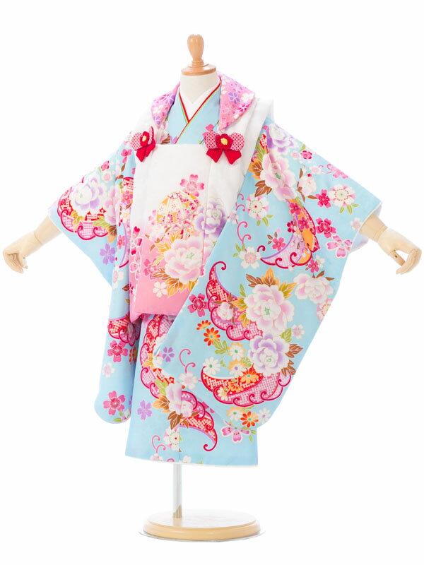 【レンタル】 七五三 3歳 着物 被布 貸衣装 往復送料無料 髪飾り | レトロ フルセット モダン 七五三着物 アンティーク 女の子 三歳 被布セット 753 セット 衣装 和装 小物 着物レンタル 子供 着付け 草履 レンタル着物 きもの 和服 kimono 小物セット 3才 キモノ [E-H-404]