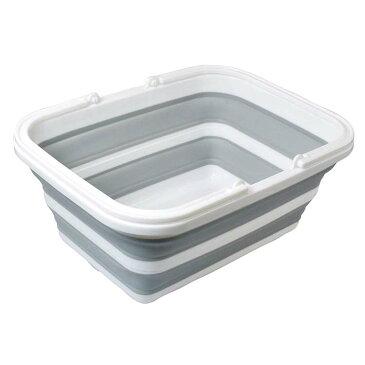 たためる洗い桶 8.5L FIN-706折りたたみ洗い桶 キッチンバケツ 取手付き 伸縮 ぺったんこ すきま収納 掃除 飲料保冷 アウトドア ファイン 【TC】