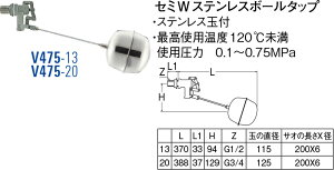 SANEI(三栄水栓製作所)セミWステンレスボールタップV475-20