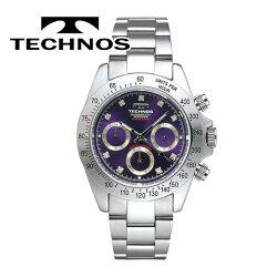 TECHNOS(テクノス)SEIKOムーブ搭載メンズ腕時計クロノグラフジルコニア・リミテッドT4102SLパープル