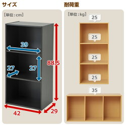 山善(YAMAZEN)お買得2個セット★3段カラーボックスGCB-3*2