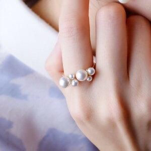 ◆期間中!当店ポイント5倍!◆Bubble◯フォークリング パール リング 指輪 選べる ゴールド シルバー バブル 誕生日 プレゼント クリスマス 卒業式 入学式 真珠の指輪 クリスタルパール フォークリング 記念日 ホワイトデー 母の日 入学祝い 卒業祝い 結婚祝い