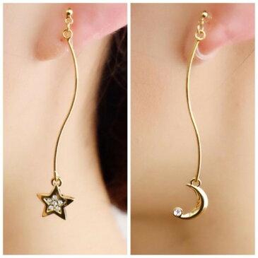 【イヤリング(樹脂ノンホールピアスタイプ)】star&moonウェーブワイヤーピアス風イヤリング