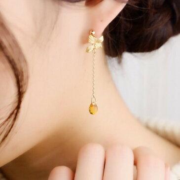 """【イヤリング(樹脂ノンホールピアスタイプ)】蜜が滴るお花のピアス""""アンバー"""""""