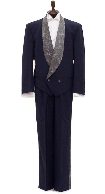 【中古】タキシードセット販売 ジャケット・パンツ グレーのショートダブル 側章付きパンツでスラリ AB8 身長約180から190cm