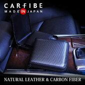 カーボンファイバーと本格牛革を使用したラウンドファスナー二つ折り財布【CARFIBE】