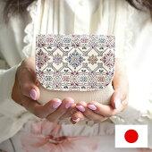 手描き花柄コンパクトBOX財布