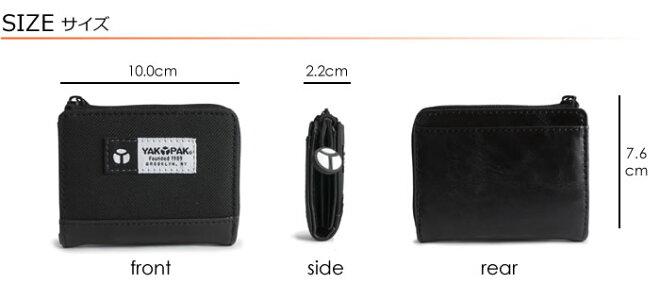 説明4|小銭入れコインケースメンズL字ファスナーレディースカジュアルジッパーアコーディオンジャバラコンパクト軽い軽量ナイロンYAKPAKヤックパック