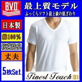 新BVDV首半袖紳士インナーシャツ(男の肌着)5枚セット【日本製】 Finest Touch