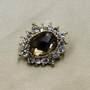 キラキラ宝石ボタンフェイクダイヤモンドイエロー15mm