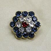 キラキラ宝石ボタンフェイクダイヤモンドレッドブルー15mm