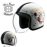 【送料無料】【在庫有】ライズ(RIDEZ) シールド付き ジェットヘルメット KNUCKLE HEAD(ナックルヘッド) RJ605 PLAY BONES2 ホワイト/ブラック