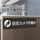 防犯カメラ作動中プレート 看板【マットブラック】H10×W4...