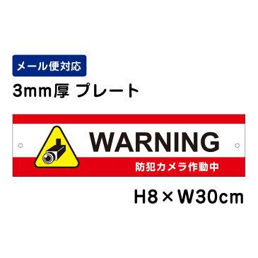 WARNING 防犯カメラ作動中 24H SECURITY SYSTEM /H8×W30cm プレート 看板プレート 商品番号:ATT-012