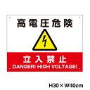 高電圧危険 / 立入禁止看板 H30×W40cm 太陽光発電標識 再生可能エネルギーの固定価格買取制度(FIT)対応 high-voltage