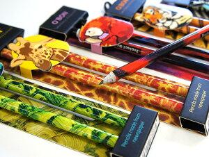 【O'BON】オーボン 新聞からできた鉛筆(2本入り) Wildlife Twin 【えんぴつ/オフィス 文房...
