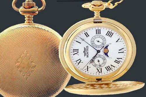MONTRES モントレス 923 ムーンフェイス 懐中時計 柄付 ゴールド/ローマ...