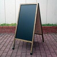 アンティーク仕上げの木製A型看板マーカーとチョーク兼用(水拭き消し字)板面:ブラック(つや消し)/フレーム:ブラウン58990-1【T048】【自社在庫品】