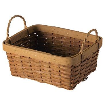 『 かご 』カゴ 籠 バスケット 店舗什器 小物入れ 小物収納ケース 収納ケース おしゃれ かわいい 可愛い アジアン シンプル ナチュラル 編み ウッドチップ 角型 スクエア 横長 収納box 軽い 軽量 小さい 小さめ