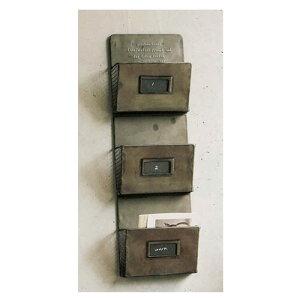 『 GESHMACK CARD RACK 3 』レターケース レターラック レターホルダー カードラック カードホルダー ハガキ収納 葉書ラック はがきラック ポストカードラック ハガキ入れ ブリキ 壁掛け 収納 ディスプレイ インテリア シンプル ナチュラル おしゃれ アンティーク調