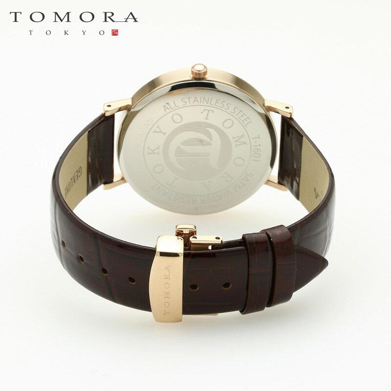 【a・新品・正規品】TOMORA TOKYO t-1601-pwhbr 日本製クォーツ腕時計 T-1601 PWHBR
