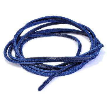 革紐 ウシ紐 日本製 ソフトレース牛革ひも 平紐 幅2.0mm 長さ100cm ネイビー 紺色 手芸用品 金具 飾り パーツ 部品 ネックレス レザーコード 皮紐 皮ひも