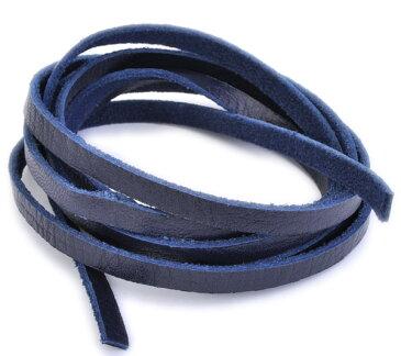 革紐 ウシ紐 日本製 ソフトレース牛革ひも 平紐 幅5.0mm 長さ150cm ネイビー 紺色 手芸用品 金具 飾り パーツ 部品 ネックレス レザーコード 皮紐 皮ひも