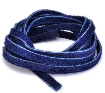 革紐 ウシ紐 日本製 両面スエードの牛革ひも 平紐 幅5.0mm 長さ100cm ネイビー 紺色 手芸用品 金具 飾り パーツ 部品 ネックレス レザーコード 皮紐 皮ひも