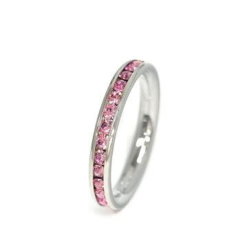 指輪 サージカルステンレス 一周ぐるり水晶のフルエタニティリング レール留め ピンク|医療用ステンレス アクセサリー レディース メンズ