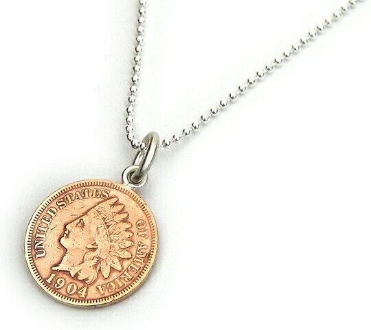 ペンダントトップ シルバー925 アメリカ古銭使用 インディアンヘッドペニー1セント硬貨ペンダント 表面:インディアン 裏面:ONECENT 1859年から1909年 ネックレスチェーン付き 1CENT コイン 銀 Silver アクセサリー レディース メンズ