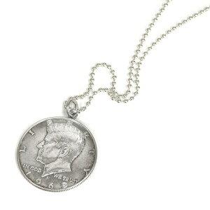 ペンダントトップ シルバー925 アメリカ古銭使用 ケネディー50セント硬貨ペンダント 表面:ケネディー 裏面:大統領の紋章 1965年〜1970年 ネックレスチェーン付き 50CENT ハーフダラー|コイン 銀 Silver アクセサリー レディース メンズ