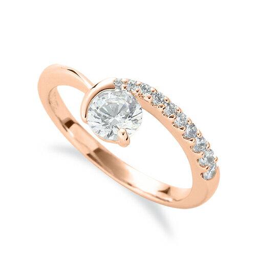 指輪 18金 ピンクゴールド 天然石 メレがラインになったサイドストーンリング 主石の直径約3.8mm V字 レール留め|K18PG 18k  貴金属 ジュエリー レディース メンズ