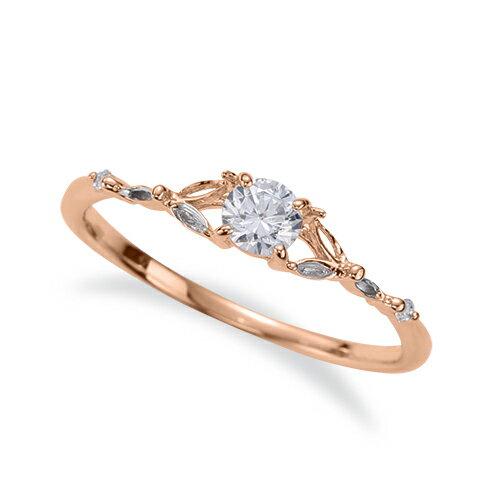 指輪 18金 ピンクゴールド 天然石 マーキスメレのサイドストーンリング 主石の直径約3.8mm 四本爪留め|K18PG 18k  貴金属 ジュエリー レディース メンズ