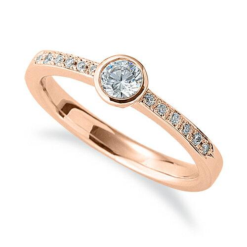指輪 18金 ピンクゴールド 天然石 サイド一文字リング 主石の直径約3.8mm|K18PG 18k  貴金属 ジュエリー レディース メンズ