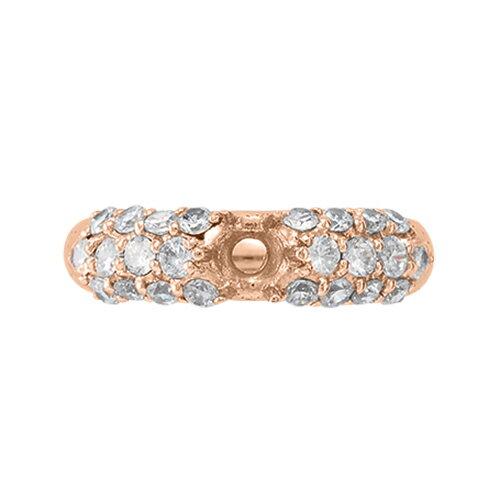 指輪 18金 ピンクゴールド 天然石 サイドパヴェリング 主石の直径約4.4mm 六本爪留め|K18PG 18k  貴金属 ジュエリー レディース メンズ