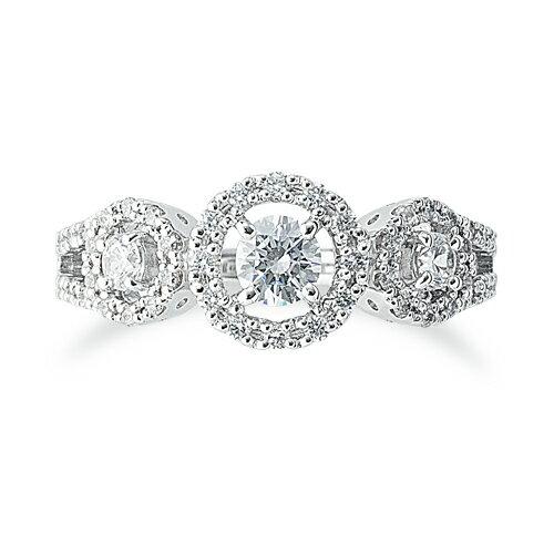 指輪 18金 ホワイトゴールド 天然石 メレが豪華な三つの取り巻きリング 主石の直径約4.1mm 割り腕 四本爪留め|K18WG 18k  貴金属 ジュエリー レディース メンズ
