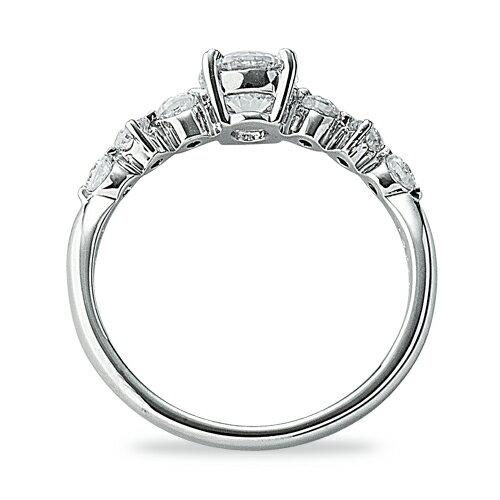 指輪 18金 ホワイトゴールド 天然石 サイドストーンリング 主石の直径約5.2mm 四本爪留め|K18WG 18k  貴金属 ジュエリー レディース メンズ
